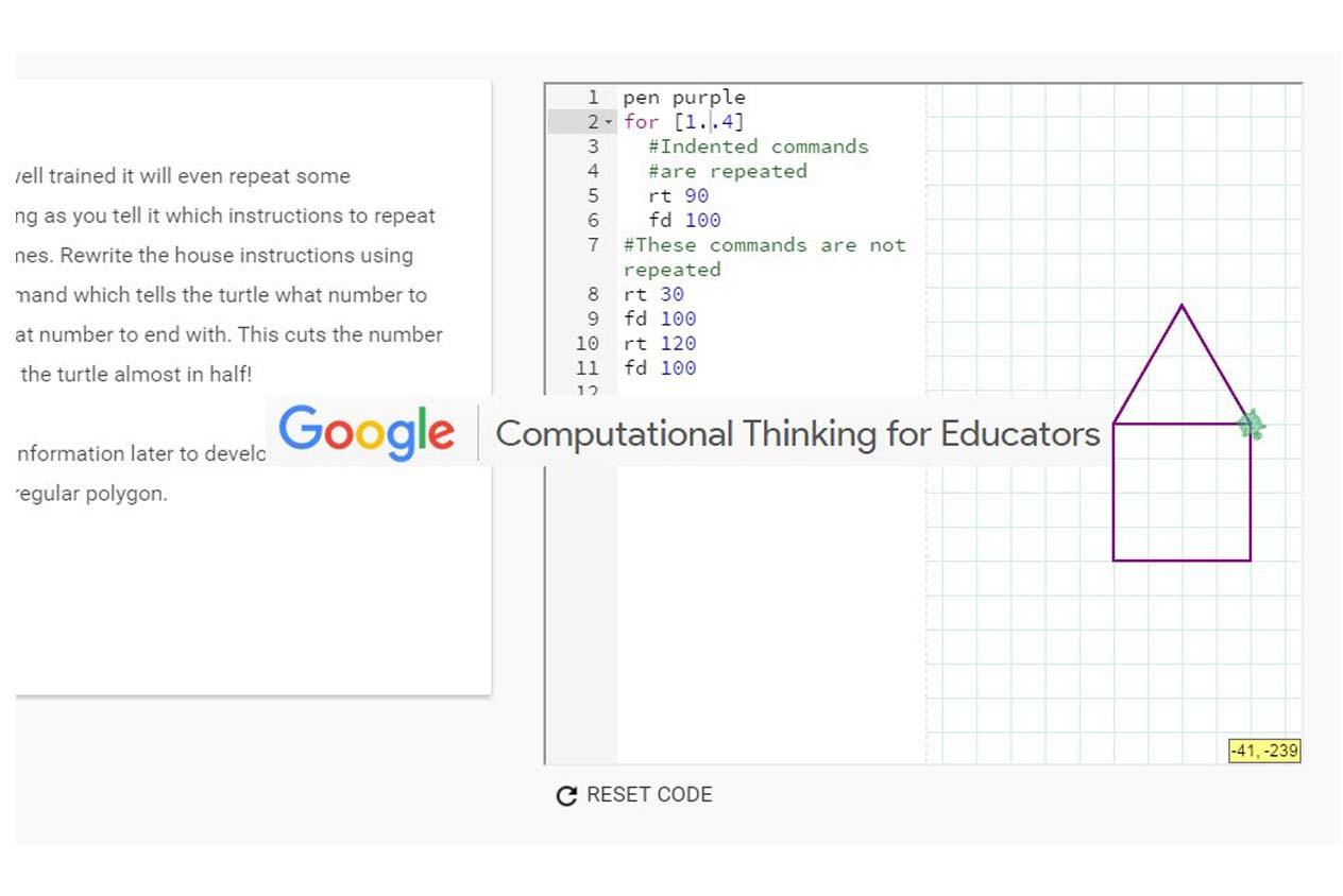 บทเรียนของ Google Computational Thinking ในส่วนของแบบฝึกหัด ทำให้เกิดความคิดเชิงคำนวนได้อย่างเห็นภาพ
